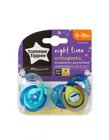 Tommee Tippee Smoczek uspok NIGHT Time 6-18m 2szt